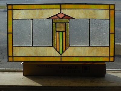 """Architectural Salvage Antique Leaded Glass Panel ~ 28"""" x 15 1/8"""", c. 1920's"""