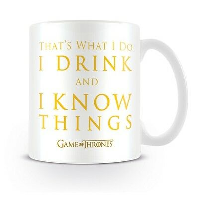 """GAME OF THRONES """"I DRINK & I KNOW THINGS"""" CERAMIC MUG 11oz OFFICIALLY LICENSED"""