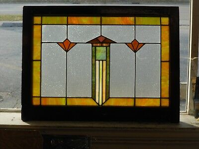 """Architectural Salvage Colorful Antique Leaded Glass, ~34"""" x 25"""" Overall, c. 1920"""