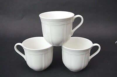 Set Of 3 Mikasa Antique White Hk400 Coffee Tea Cups Super Strong Ultima