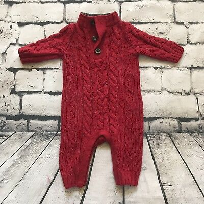 Baby Gap Boy's Girls One Piece Sweater Cable Knit Wool Blend Red Size 3-6 Months