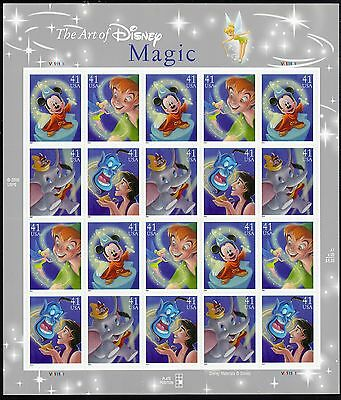 THE ART OF DISNEY US 2007 SCOTT #4192-4195 SET OF 4 MAGIC 20 MVF 41c STAMP SHEET