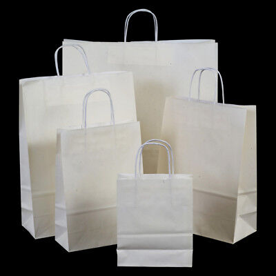 Luxury White Paper Carrier Bags with Twisted Handles - Paper Shopping Bags