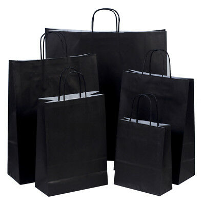 Luxury Black Paper Carrier Bags with Twisted Handles - Paper Shopping Bags