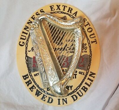 VINTAGE GUINNESS EXTRA STOUT Brewed In Dublin Bar Sign Advertising Plastic Harp