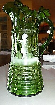 Antique Mary Gregory Green Glass  Pitcher Girl Holding Bird 1850-1920's circa