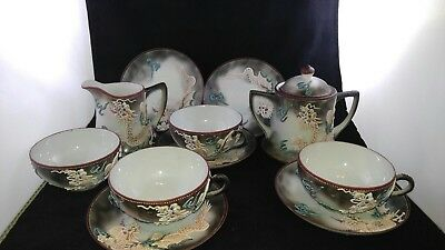 Japanese Dragonware Hand Painted Blue Eye 11 Piece Tea Set Vintage Japan