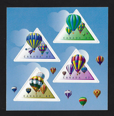 Canada Stamps -  Pane of 4 (half Booklet) - Hot Air Balloons #1921a@d - MNH