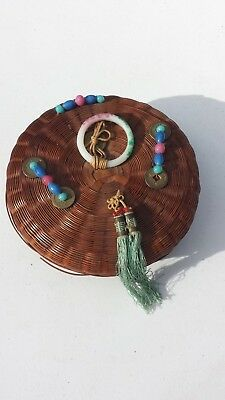 Vintage Antique Chinese Sewing Basket Coins Glass Beads & Ring