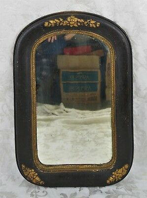 Antique 19th Century Victorian Arched Black & Gold Wall Mirror