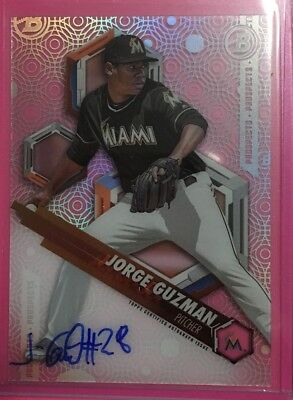 2018 Bowman High Tek Prospects Auto #PHT-JG Jorge Guzman Miami Marlins