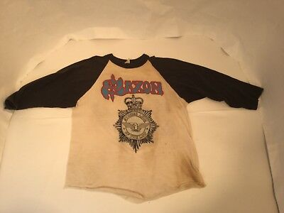 True Vintage Saxon 1982 Strong Arm Of The Law Tour Shirt Heavy Metal Thunder Med