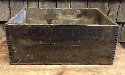 Antique ATLAS POWDER Co. Explosive Box Advertising Wooden Crate