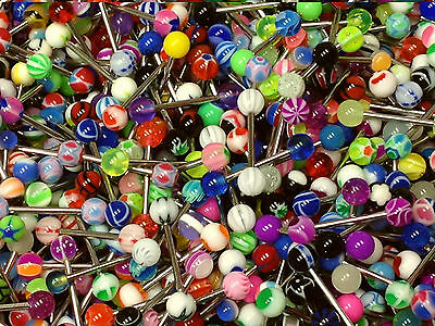 Wholesale Lot of 100 14g Tongue Rings Bar Ball Barbell Body Piercing Jewelry Hot