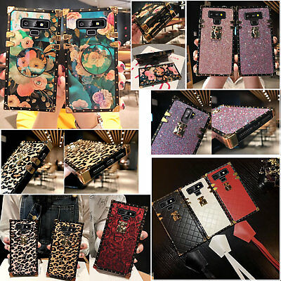 Samsuang Note9 S10e S8 Fashion Leopard Leather Grid Square Shockproof Case Cover