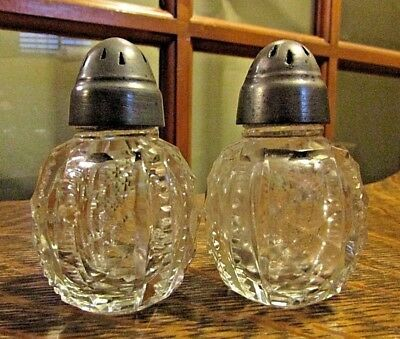 Antique AMERICAN BRILLIANT CUT Glass Zipper Edge SALT & PEPPER Set, Pewter Lids