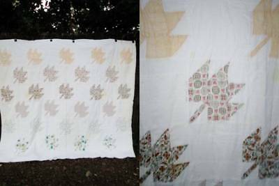 Vintage QUILT Handmade Hand Stitched CUTTER Patchwork Squares MAPLE LEAVES 75x87