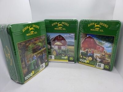 SET of 3 John Deere 1000 Piece Heritage Collector Series Puzzles in Tins NEW!