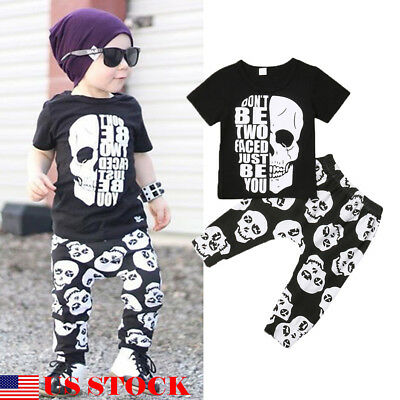 US 2PCS Toddler Kids Baby Boys Top T-shirt Skull Print Pant Legging Outfits 1-6Y