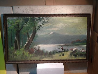 Vintage Antique Oil on Board, Landscape , 1920's Signed  Browning
