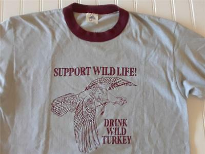 Vtg 1985 50/50 Support Wildlife Drink Wild Turkey Ringer T Shirt Alcohol Promo
