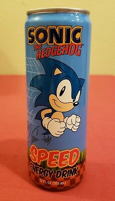 Official SEGA Sonic the Hedgehog 8.4oz NEW Energy Drink Can RARE Collectible