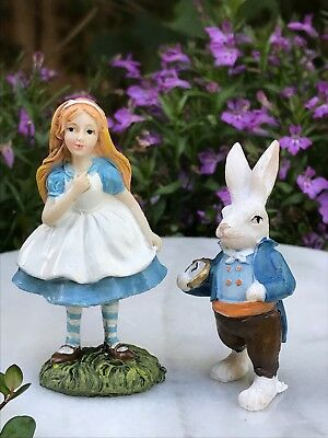 Miniature Dollhouse FAIRY GARDEN ~ Mini WONDERLAND Figurine ALICE & White Rabbit