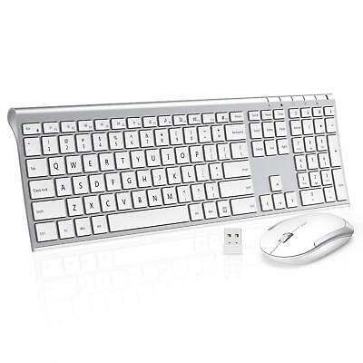 Wireless Keyboard Mouse, Jelly Comb 2.4GHz Ultra Slim Full Size Rechargeable