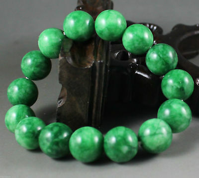 Beautiful Chinese Green jade Carved beads Hand woven Elastic Bracelet