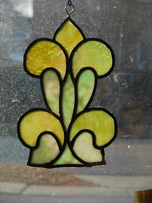 Architectural Salvage—Green & Amber Opalescent Ornament From An Antique Window