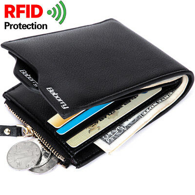 RFID Antimagnetic Theft Protect Coin Bag Men Wallet Pocket ID Blocking Mini Slim