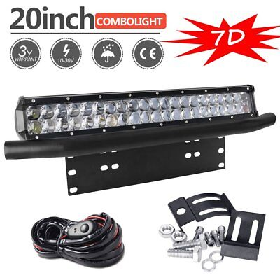 7D 20inch 420W CREE LED Light Bar Spot+Flood Combo + Mounting Number plate+ Wire