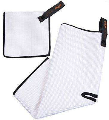SUNLAND Microfiber Deep Waffle Weave Golf Towels with Free Golf Balls White