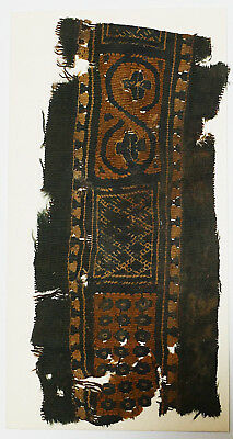 4-8C Ancient Coptic Textile Fragment -Part of Clothes, Flower & Chain Pattern