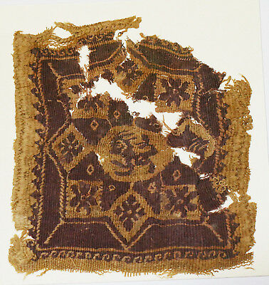 4-8C Ancient Coptic Textile Fragment - Part of Clothes, Animal Pattern, Emblem