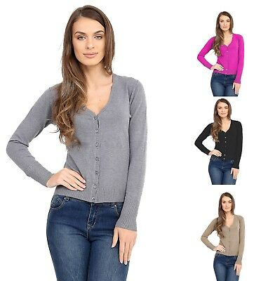 Womens  Short Button up lightweight Ladies Chunky knitted Granddad Cardigan