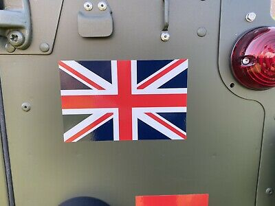 2X MILITARY VEHICLES ARMY DEFENDER LAND ROVER WOLF UNION JACK FLAG STICKERS dark