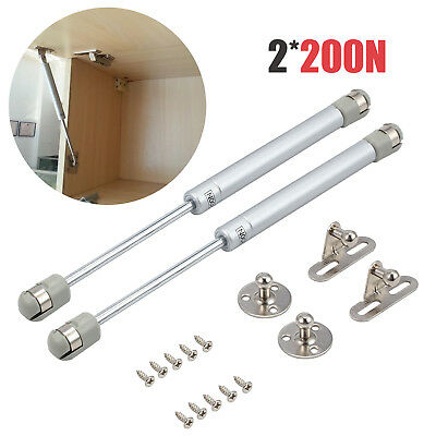 2X 200N Gas Strut Support Kitchen Cabinet Cupboard Door Hinges Stays Soft Close