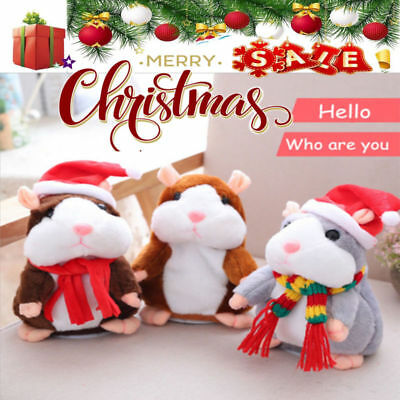 Christmas Gift Talking Hamster Plush Toy Repeats What You Say Electronic Pet US