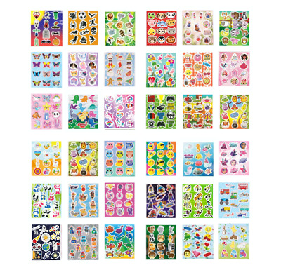 3 Packs Childrens Kids Sticker Sheets Party Bag Fillers  Choose From 34 Designs