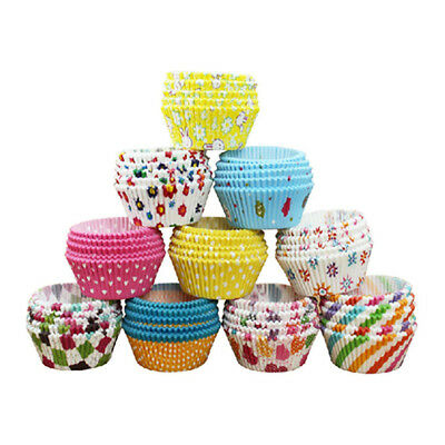 100pcs Paper Cake Cup Cupcake Cases Liners Muffin Kitchen Baking Multi color