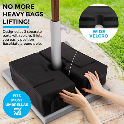 2 DETACHABLE UMBRELLA BASE WEIGHT SAND BAGS Ergonomic Stand Add On Weight