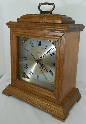 "Nice Linden Westminster Table Mantle Solid Wood Wooden Chiming Oak Clock 10""x12"""