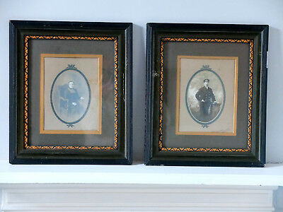 Pair of antique photographs in original frames c.1900