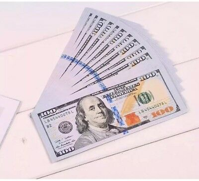 FAKE MOVIE PROP MONEY FULL PRINT 2 X $100 Bills = $200 PROP CASH