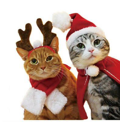 Puppy Pet Dog Cat Santa Hat Scarf Cloak Christmas Xmas Holiday Costume Outfit AU