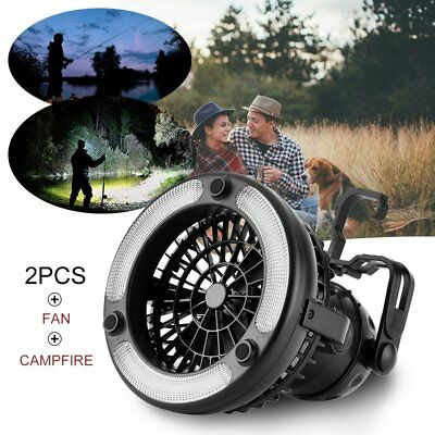 2-in-1 18 LED Camping Fan Light Lantern Tent Ceiling Outdoor Flashlight Lamp FT