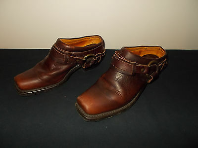 Frye Harness Belted Motorcycle Riding Mule Clogs Tobacco Boots Womens 7M sku8