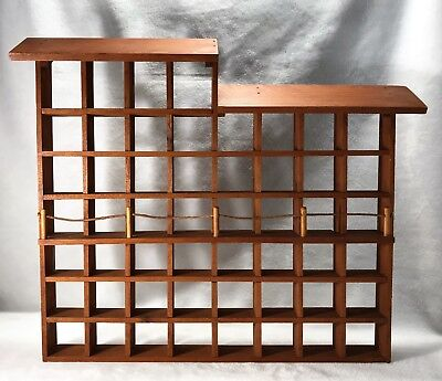 Vintage Wooden Thimble Display Case Holds 52 Thimbles