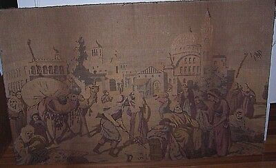 """Old Antique Tapestry Arabian Scene At The Market On Wood Stretchers 22"""" x 36"""""""